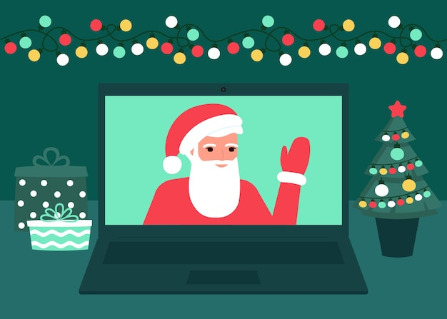 Santa claus communicate online on christmas holiday on laptop at home. decoration fir, lightbulbs desktop and greeting christmas and new year. video call on laptop, virtual meeting.  flat