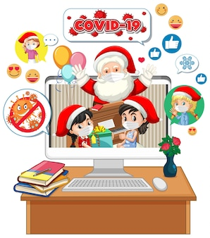 Santa claus on computer display with social media icon
