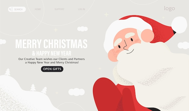 Santa claus congratulate with christmas and new year.