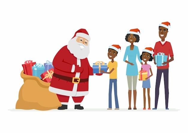 산타 클로스는 아프리카 가족을 축하합니다 - 만화 캐릭터는 흰색 배경에 고립 된 그림입니다. 선물 가방을 들고 웃는 아버지 프로스트는 부모와 아이들에게 선물을 줍니다. 크리스마스 컨셉