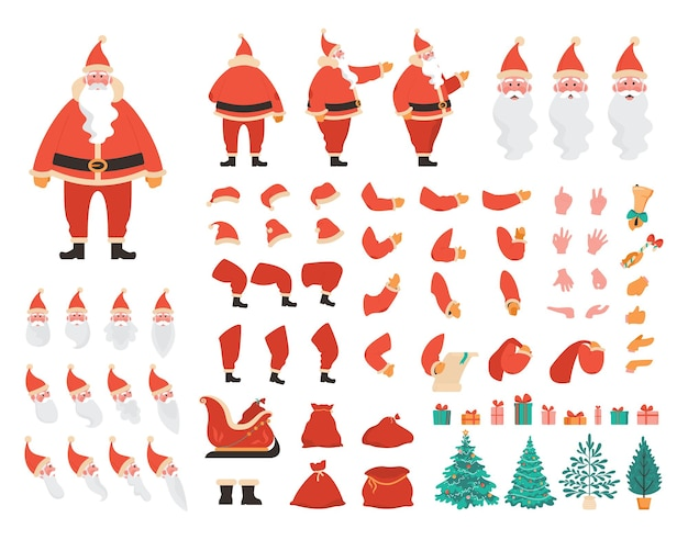 サンタクロースコンストラクターセット。さまざまなビュー、感情、ポーズ、ジェスチャーのアニメーションのための赤い衣装で白ひげを持つ幸せな古いキャラクター。クリスマスの要素。フラットベクトルイラスト