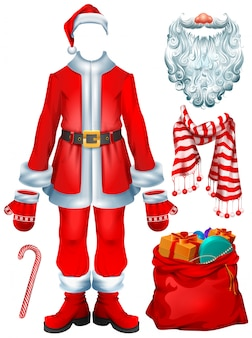 Santa claus costume dress and christmas accessories hat, mittens, beard, boots, bag with gifts, striped candy cane, scarf