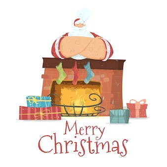 Santa claus in costume stand with crossed arms