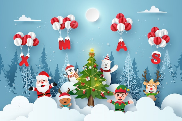 Santa claus and cute cartoon character in christmas party with xmas balloon