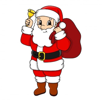 Santa claus. cute character. colorful  illustration. cartoon style. isolated on white .