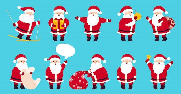 산타 클로스 귀여운 크리스마스 플랫 만화 세트입니다. 선물, 가방, 스키, 선물, 연설 거품 컬렉션 재미있는 캐릭터. 다른 감정 산타, 새해 개체. 그림 파란색 배경