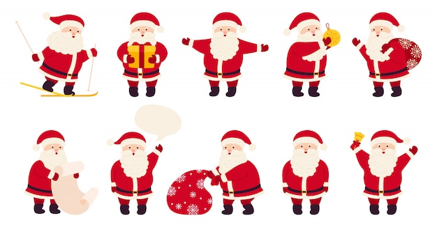 Santa claus cute christmas flat cartoon set. collection funny happy character with gift, bag or skiing, toy, speech bubble or list. different emotions santa and new year objects. illustration