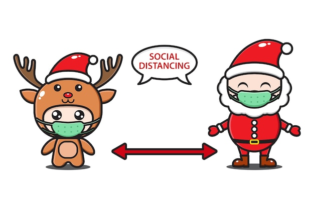 Santa claus and cute deer with mask social distancing illustration
