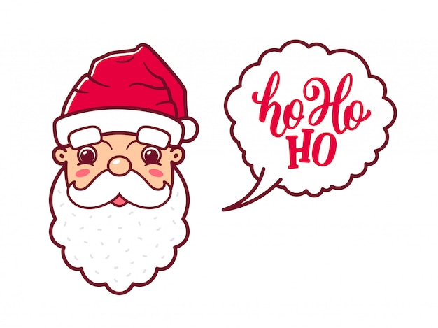 Santa claus cute face says ho ho ho