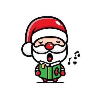 Санта-клаус милый поет дизайн
