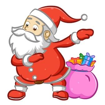 분홍색 자루에 많은 선물 옆에 춤추는 산타 클로스