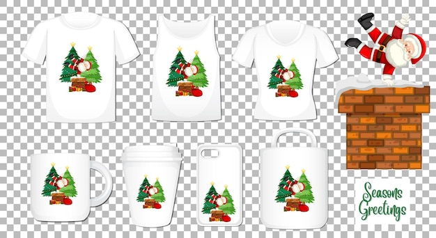 Santa claus dancing cartoon character with set of different clothes and accessories products on transparent background