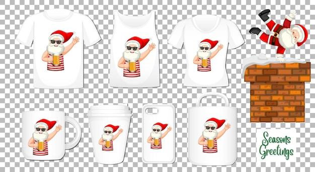 Санта-клаус танцует мультипликационный персонаж с множеством различной одежды и аксессуаров на прозрачном фоне