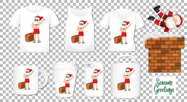 다른 의류 및 액세서리 제품 세트와 함께 산타 클로스 춤 만화 캐릭터