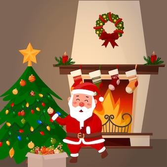 サンタクロースがクリスマスツリーを飾ります。バックグラウンドで暖炉。漫画のイラスト。