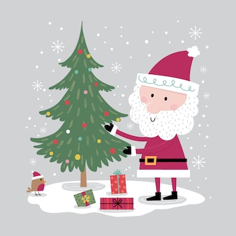 Santa claus decorating christmas tree, christmas card with cute character, illustartion