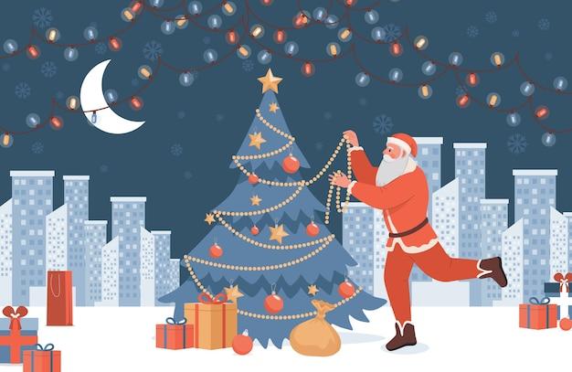Санта-клаус украшает елку