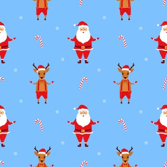 Santa claus and the deer. christmas  seamless pattern
