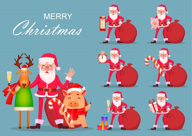 Santa claus, deer and pig, set