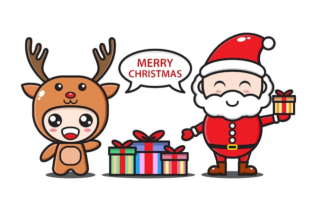 Santa claus and deer with gifts