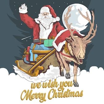 Santa claus and the deer