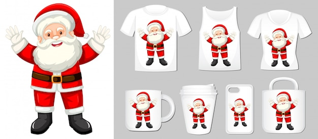 Santa claus on different product templates