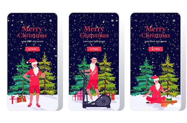 다른 운동을하는 산타 클로스 수염 난 남자 훈련 운동 개념 크리스마스 새해 휴일 축하 스마트 폰 화면 설정 온라인 모바일 앱 배너