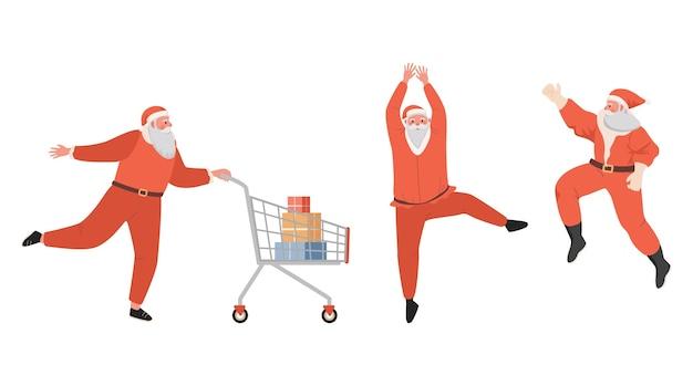 쇼핑 하 고 흰색 절연 joying 산타 클로스
