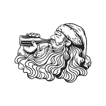 Santa claus drink a beer