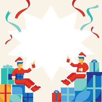 Santa claus drinking celebrate with many gift boxes flat stlye background design