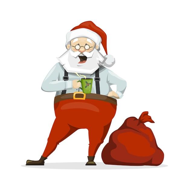 Санта-клаус пьет чай из кружки. перерыв на кофе