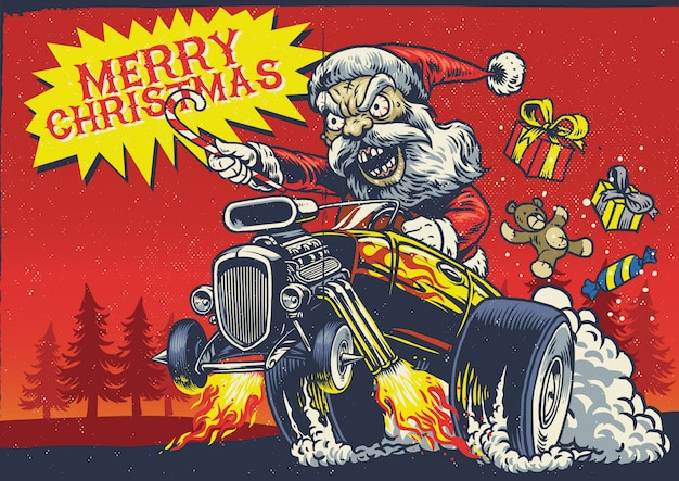 Santa claus drive the hot rod car