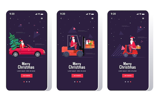 Santa claus driving car forklift and scooter set merry christmas happy new year holiday celebration