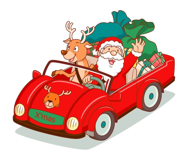 Santa claus driving a car with reindeer beside.