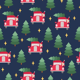 Santa claus driving christmas tree vector seamless pattern