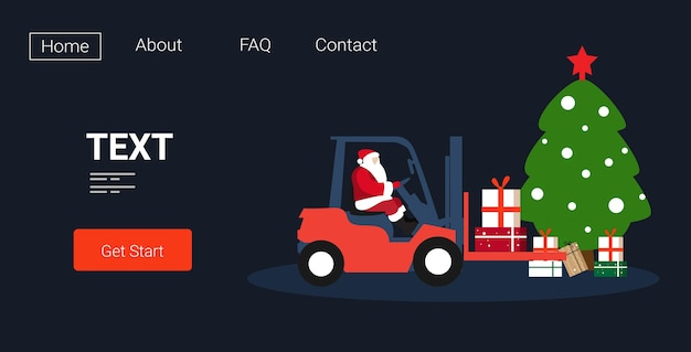 Santa claus driving forklift truck loading colorful gift present boxes delivery and shipping concept merry christmas  winter holidays celebration horizontal sketch copy space vector illu