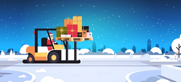 Santa claus driving forklift truck loading colorful gift present boxes delivery and shipping concept merry christmas  winter holidays celebration horizontal snowy sityscape  fl