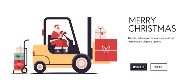 Santa claus driving forklift truck loading colorful gifts merry christmas happy new year express delivery concept horizontal copy space vector illustration