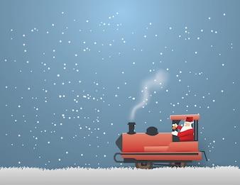 Santa Claus driving train on gray grass