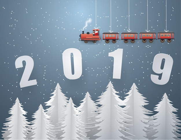 Santa claus driving the train on text  2019
