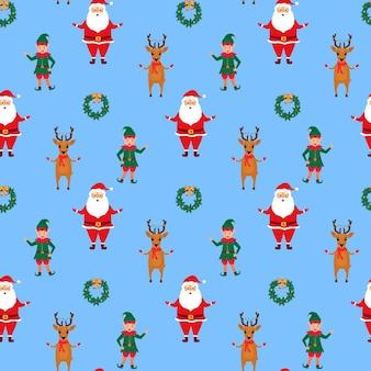 Санта-клаус, эльф и олень. рождество и новый год бесшовные модели.