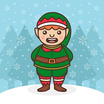 Santa claus elf cute illustration