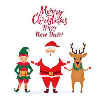 Santa claus and the elf. greeting card for new year and christmas.