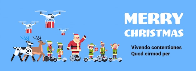 Santa claus elf ride electric scooter drone present delivery service robotic deer artificial intelligence christmas holiday new year