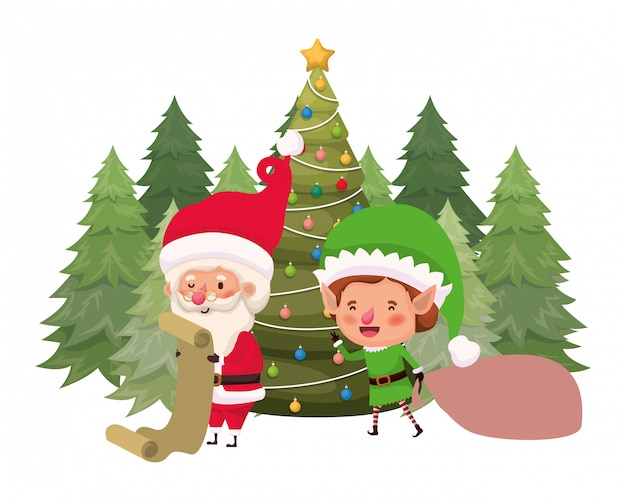 Santa claus and elf with christmas tree