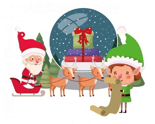 Santa claus and elf with crystal ball