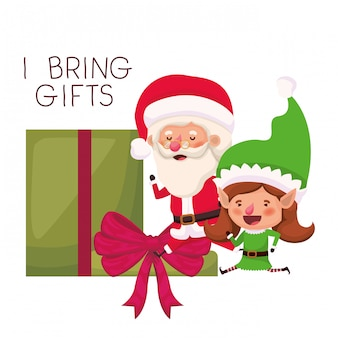 Santa claus and elf woman with gift box