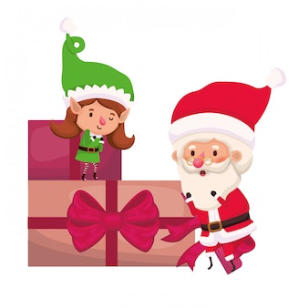 Santa claus and elf woman with gifts boxs