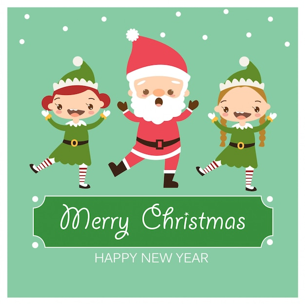 Santa claus and elves dancing in christmas greeting card