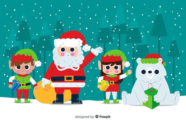 Santa claus and elves waving